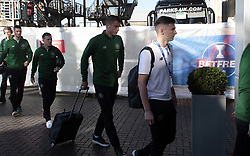 Celtic's Kieran Tierney (right) arrives for the match against Heart of Midlothian in the Betfred Cup semi final match at BT Murrayfield Stadium, Edinburgh.