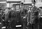 Lord Haldane, Lord Chancellor and former Minister of War, arriving with Lord Kitchener at the War Office.