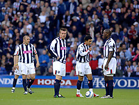 Photo. Glyn Thomas, Digitalsport<br /> West Bromwich Albion v Blackburn Rovers. <br /> Barclays Premiership. 26/04/2005.<br /> West Brom's players kick off with the score at 1-1 knowing that their chances of staying up are now extremely remote.