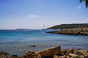 The beach and Mediterranean Sea, Cape Sounion, Attica, Greece