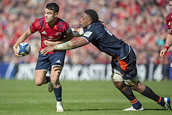 March 30, 2019 - Edinburgh, Scotland, United Kingdom - Conor Murray of Munster tackled by Viliame Mata of Edinburgh during the Heineken Champions Cup Quarter Final match between Edinburgh Rugby and Munster Rugby at Murrayfield Stadium in Edinburgh, Scotland, United Kingdom on March 30, 2019  (Credit Image: © Andrew Surma/NurPhoto via ZUMA Press)