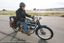 Jeff Tiernan of New York riding his Mark Hill restored 4-cylinder 1913 Henderson class-2 bike during the Motorcycle Cannonball Race of the Century. Stage-10 ride from Pueblo, CO to Durango, CO. USA. Tuesday September 20, 2016. Photography ©2016 Michael Lichter.