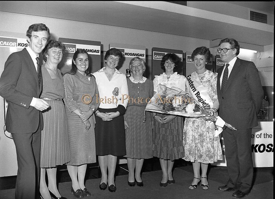 "Calor Kosangas Housewife of the Year - Dublin Regional Final.26/10/1982  26.10.1982..""Calor Kosangas Housewife Of The Year 1982"". Dublin Regional Final..The final was held in the Gresham Hotel,O'Connell St,Dublin. The winner was Mrs.,Deirdre Ryan,Derrypatrick,Drumree,Co Meath..(L-R) Morgan O'Sullivan, Mrs Daphne Felton,Cabinteely,Dublin. Mrs Petra Carter, Tara, Co Meath. Mrs Josephine McGrath,Clontarf,Dublin.Mrs Bridget Jones,Curragh,Co Kildare. Mrs Laura Jenkins,Killiney, Dublin. Mrs Deirdre Ryan,Drumree,Co Meath.Mr Denis Shelly Chairman and M.D.,Calor Kosangas."