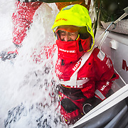 Leg 9, from Newport to Cardiff, day 06 on board MAPFRE, speed record day. Tamara Echegoyen in standby behind the wheel. 25 May, 2018.