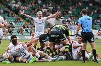 Rugby Union - 2020 / 2021 Gallagher Premiership - Round 21 - Northampton Saints vs Exeter Chief - Franklin Gardens.<br /> <br /> Exeter Chiefs' Stuart Hogg complains to Referee Craig Maxwell-Keys.<br /> <br /> COLORSPORT/ASHLEY WESTERN