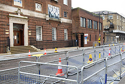 General view of the Lindo Wing, the private ward at St Mary's Hospital, London, where barriers were put up yesterday in anticipation of the Duchess of Cambridge having her third child there. Picture date: Monday April 9th, 2018. Photo credit should read: Matt Crossick/ EMPICS Entertainment.