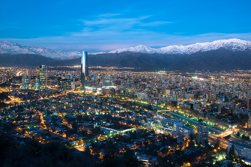 Panoramic view of Providencia and Las Condes districts with Costanera Center skyscraper, Mapocho River and Los Andes Mountain Range, Santiago de Chile <br /> <br /> For LICENSING and DOWNLOADING this image follow this link: http://www.masterfile.com/em/search/?keyword=600-06786896&affiliate_id=01242CH84GH28J12OOY4<br /> <br /> For BUYING A PRINT of this image press the ADD TO CART button.<br /> <br /> Download of this image is not available at this site, please follow the link above.