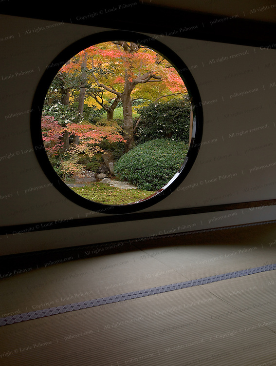 """Windows in meditation room at Genkoan Temple in Kyoto Japan.  The round window is called """"Window of the Spiritual Awakening.""""  The nearby Square window is called the """"Window of the Trouble"""" as it is a symbolic expression of human life representative of the 4 pains of mankind, birth aging and disease and death."""