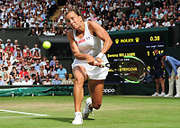 Tennis - 2019 Wimbledon Championships - Week Two, Thursday (Day Ten)<br /> <br /> Women's Singles, Semi-Final: Serena Williams (USA) vs. Barbora Strycova (CZE)<br /> <br /> Barbora Strycova on Centre Court.<br /> <br /> COLORSPORT/ANDREW COWIE