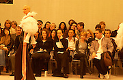 Kirsten Scott thomas and Kylie Minogue amongst others in the front row during the Chanel couture fashion show, Paris, 20 January 2004. © Copyright Photograph by Dafydd Jones 66 Stockwell Park Rd. London SW9 0DA Tel 020 7733 0108 www.dafjones.com