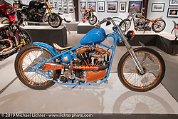 Two-Wheelers' Arlin Fatland's custom Shovelhead in the More Mettle - Motorcycles and Art That Never Quit exhibition in the Buffalo Chip Events Center Gallery during the Sturgis Motorcycle Rally. SD, USA. Wednesday, August 11, 2021. Photography ©2021 Michael Lichter.