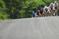 May 26, 2018 - Izu, Shizuoka, Japan - Members of Kinan Cycling Team with the Race Leader Marcos Garcia Fernandez lead the peloton during Izu stage, 120.8km on Izu-Japan Cycle Sports Center Road Circuit, the seventh stage of Tour of Japan 2018. .On Saturday, May 26, 2018, in Izu, Shizuoka Prefecture, Japan. (Credit Image: © Artur Widak/NurPhoto via ZUMA Press)