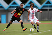 Waitakere United's Dylan Manickum and Canterbury's Travis Nicklaw tussle for the ball. ISPS Handa Premiership, Waitakere United v Canterbury United Dragons, Trusts Stadium, Auckland, Sunday 14th January 2018. Copyright Photo: David Joseph