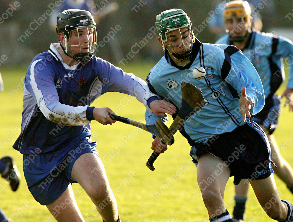 St. Caimins Kevin Lynch takes on Nenagh's Shane Maher during their Harty Cup clash in Scariff on Wednesday.<br /><br />Photograph by Yvonne Vaughan.
