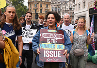Anti-abortion supporters take part in the 'March For Life' rally in Parliament Square on September 04, 2021