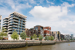 Modern luxury apartment blocks  part of modern Hafencity property development in Hamburg Germany
