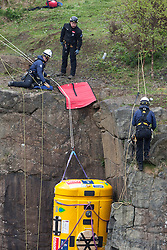 Nick Hancock tests his RockPod over the cliff edge at Ratho EICA, in a final Rockall Solo test run for his unique 60 day endurance expedition on Rockall. Helped by Steve Young and Fraser MacDonald from the National Rope Rescue Training Centre..© Michael Schofield..