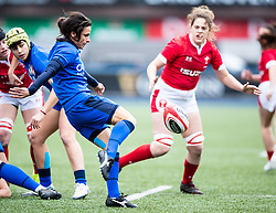 Sara Barattin of Italy clears<br /> <br /> Photographer Simon King/Replay Images<br /> <br /> Six Nations Round 1 - Wales Women v Italy Women - Saturday 2nd February 2020 - Cardiff Arms Park - Cardiff<br /> <br /> World Copyright © Replay Images . All rights reserved. info@replayimages.co.uk - http://replayimages.co.uk
