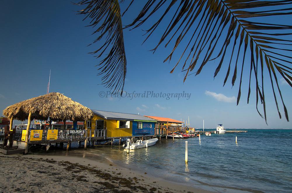 Dock in Caribbean Ocean<br /> San Pedro (Isla Bonita)<br /> Ambergris Caye<br /> Belize<br /> Central America