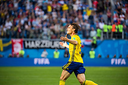 July 3, 2018 - St Petersburg, Russia - 180703 Albin Ekdal of Sweden celebrate after winning the FIFA World Cup round of 16 match between Sweden and Switzerland on July 3, 2018 in ST Petersburg..Photo: Petter Arvidson / BILDBYRÃ…N / kod PA / 87748 (Credit Image: © Petter Arvidson/Bildbyran via ZUMA Press)