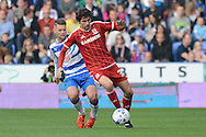 Reading midfielder Oliver Norwood and Middlesbrough striker Diego Fabbrini in action during the Sky Bet Championship match between Reading and Middlesbrough at the Madejski Stadium, Reading, England on 3 October 2015. Photo by Alan Franklin.