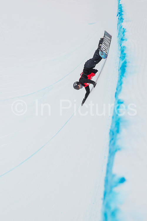 BBC snowsports commentator and ex professional snowboarder Ed Leigh during the The Brits snowboard halfpipe final championship on the 6th April 2018 in Laax Ski Resort, Switzerland. The Brits is a national championships sanctioned by British Ski & Snowboard