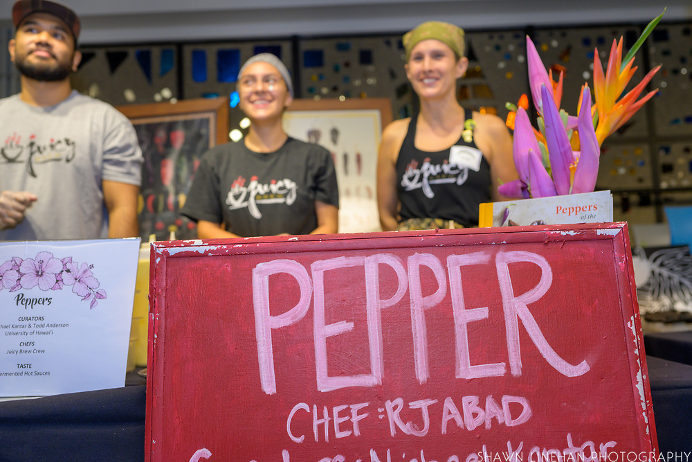 PEPPER<br /> Curators: Michael Kantar & Todd Anderson, CTAHR Chef: Jenn Hee, Juicy Brew<br /> Theses peppers are part of a breeding population between a wild collected plant in Mexico from Oaxaca, and an heirloom variety (Chimayo) from the southwest United states. The breeding population is being selected for tolerance to drought. They should be low-medium heat. The population is not fixed for traits yet, each fruit is unique.