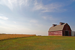 Red Barn on the crest of a hill in south central Minnesota