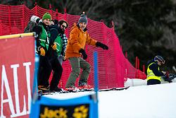 Matic Ritonja, Jure Makovec and Matej Druznik of Slovenia during the Ladies' GiantSlalom at 56th Golden Fox event at Audi FIS Ski World Cup 2019/20, on February 15, 2020 in Podkoren, Kranjska Gora, Slovenia. Photo by Morgan Kristan / Sportida
