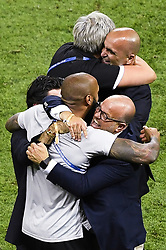 July 6, 2018 - Kazan, RUSSIA - physical therapist Lieven Maesschalck, Belgium's head coach Roberto Martinez, Belgium's assistant coach Thierry Henry and KBVB-URBSFA vice-chairman Bart Verhaeghe celebrate after winning a soccer game between Belgian national soccer team the Red Devils and Brazil in Kazan, Russia, Friday 06 July 2018, the quarter-finals of the 2018 FIFA World Cup. BELGA PHOTO LAURIE DIEFFEMBACQ (Credit Image: © Laurie Dieffembacq/Belga via ZUMA Press)