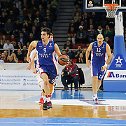 Anadolu Efes's Dario Saric (L) and Nenad Krstic (R) during their Turkish Airlines Euroleague Basketball Top 16 Round 3 match Anadolu Efes between CSKA Moscow at Abdi ipekci arena in Istanbul, Turkey, Thursday 15, 2015. Photo by Aykut AKICI/TURKPIX