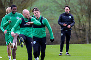 Hibernian FC fitness coach, Colin Clancy watches the players during the Hibernian training session at Hibernian Training Centre, Ormiston, Scotland on 27 November 2020, ahead of their Betfred Cup match against Dundee.