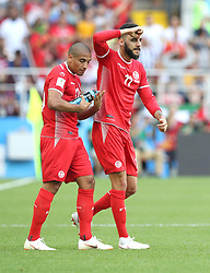 MOSCOW, June 23, 2018  Dylan Bronn (R) of Tunisia celebrates scoring during the 2018 FIFA World Cup Group G match between Belgium and Tunisia in Moscow, Russia, June 23, 2018. (Credit Image: © Xu Zijian/Xinhua via ZUMA Wire)