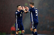 Scotland midfielder Callum McGregor (6) (Celtic) and Scotland forward Steven Fletcher (9) (Sheffield Wednesday) during the UEFA Nations League match between Scotland and Israel at Hampden Park, Glasgow, United Kingdom on 20 November 2018.