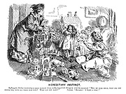 """Hereditary Instinct. Suffragette mother (snatching a spare moment from really important things to visit the nursery). """"But, my dear child, what are you crying for, with all these nice toys? What can you want?"""" Infant. """"Boo-hoo! I want a vote!"""""""