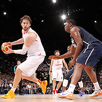 15 July 2012: Kevin Seraphin of Team France defends on Pau Gasol of Team Spain during a pre-Olympic exhibition game won 75-70 by Spain over France, at the Palais Omnisports de Paris Bercy, in Paris, France.