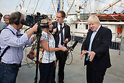 London, UK. Monday 8th September 2014. London Mayor Boris Johnson talks to the press during a visit to Royal Greenwich Tall Ships Festival which is organized by RB Greenwich. The Festival is included as a highlight of Totally Thames, the new month-long promotion of river and riverside events delivered by Thames Festival Trust.