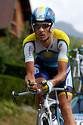 France, Talloire, 23 July 2009: Andreas Klöden (Ger) Astana on the Côte de Bluffy climb during Stage 18 - a 40.5 km Annecy to Annecy individual time trial. Photo by Peter Horrell / http://peterhorrell.com .