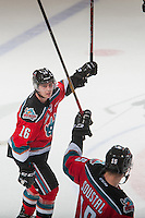 KELOWNA, CANADA - NOVEMBER 26: Kole Lind #16 of the Kelowna Rockets salutes the fans on the overtime winning goal against the Regina Pats on November 26, 2016 at Prospera Place in Kelowna, British Columbia, Canada.  (Photo by Marissa Baecker/Shoot the Breeze)  *** Local Caption ***