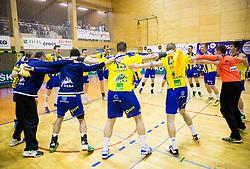 Players of Celje celebrate after winning during handball match between RK Celje Pivovarna Lasko and RD Koper 2013 in Final of Slovenian Men Handball Cup 2015/16, on April 17, 2016 in Ribnica, Slovenia. Photo by Vid Ponikvar / Sportida