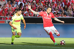 April 14, 2017 - Lisbon, Lisbon, Portugal - Benficas forward Kostas Mitroglou from Greece (R) and Maritimo's defender Luis Martins from Portugal (L) during the Premier League 2016/17 match between SL Benfica v Maritimo M., at Luz Stadium in Lisbon on April 14, 2017. (Credit Image: © Dpi/NurPhoto via ZUMA Press)
