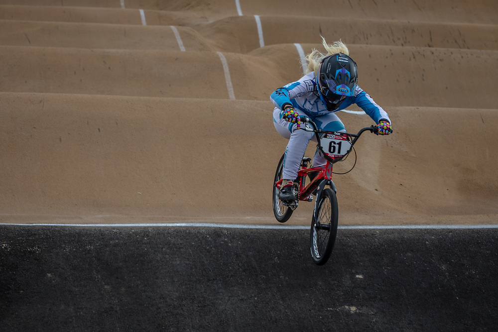 #61 (VEENSTRA Manon) NED at Round 3 of the 2020 UCI BMX Supercross World Cup in Bathurst, Australia.