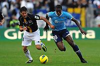 """Massimo GOBBI Parma, Djibril CISSE' Lazio<br /> Roma 6/11/2011 Stadio """"Olimpico""""<br /> Football Calcio Serie A 2011/2012 <br /> Lazio Vs Parma<br /> Foto Insidefoto Andrea Staccioli"""