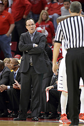 14 February 2015:   Gregg Marshall looks on in wonderment during an NCAA MVC (Missouri Valley Conference) men's basketball game between the Wichita State Shockers and the Illinois State Redbirds at Redbird Arena in Normal Illinois