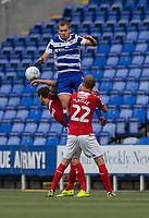 Reading's George Puscas (centre) battles with Middlesbrough's George Friend (left) and George Saville (right) <br /> <br /> Photographer David Horton/CameraSport<br /> <br /> The EFL Sky Bet Championship - Reading v Middlesbrough - Tuesday July 14th 2020 - Madejski Stadium - Reading<br /> <br /> World Copyright © 2020 CameraSport. All rights reserved. 43 Linden Ave. Countesthorpe. Leicester. England. LE8 5PG - Tel: +44 (0) 116 277 4147 - admin@camerasport.com - www.camerasport.com
