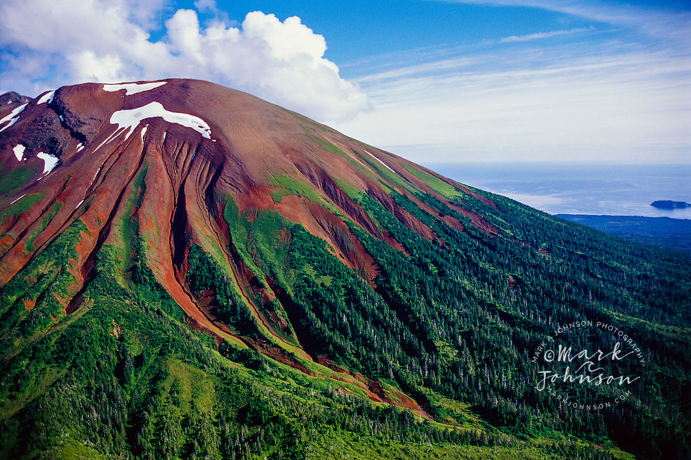 Mt Edgecumbe, Kruzof Island, Sitka, Alaska, USA --- Tree-Covered dormant volcano