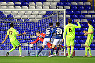 Kyle Lafferty of Birmingham City (C) scores their first goal.<br /> Sky Bet Football League Championship match, Birmingham City v Brighton & Hove Albion at St.Andrew's Stadium in Birmingham, the Midlands on Tuesday 5th April 2016.<br /> Pic by Ian Smith, Andrew Orchard Sports Photography.