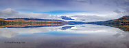 Panoramic of Lake McDonlad in late autumn in Glacier National Park, Montana, USA