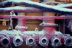 Stock photo of pump valves on a  'frac' truck.