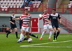 Hamilton's Anthony Andreu scoring their goal.<br /> Half time : Hamilton 1 v 0 Falkirk, Scottish Championship played today at New Douglas Park.<br /> ©Michael Schofield.